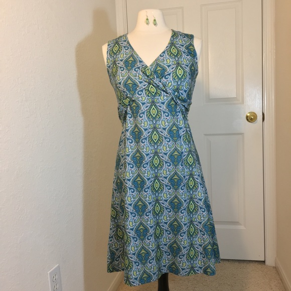 48fec101e98 Prana Blue Paisley Yoga Dress Faux Wrap Size L. M 5b2d40ddaa5719594d41e419